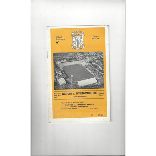 1963/64 Watford v Peterborough United Football Programme