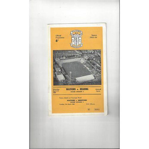 1963/64 Watford v Reading Football Programme