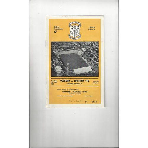 1963/64 Watford v Southend United Football Programme