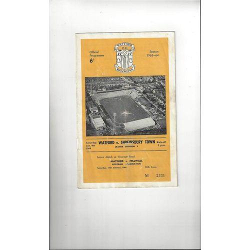 1963/64 Watford v Shrewsbury Town Football Programme