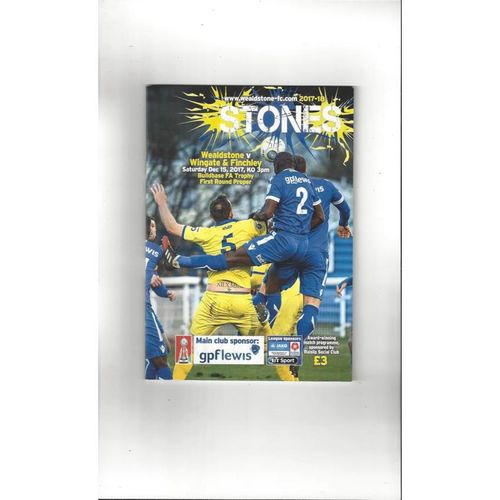 2017/18 Wealdstone v Wingate & Finchley FA Trophy Football Programme