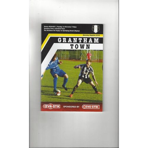 Grantham Town v Stratford Town FA Trophy Football Programme 2016/17
