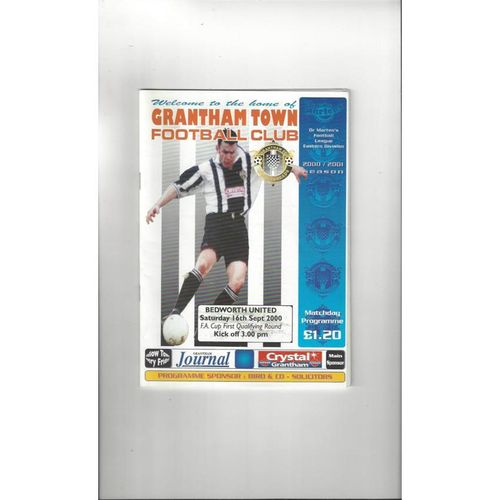 Grantham Town v Bedworth United FA Cup Football Programme 2000/01