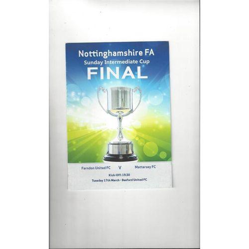 2015 Farndon United v Mattersey Notts Sunday Cup Final Football Programme