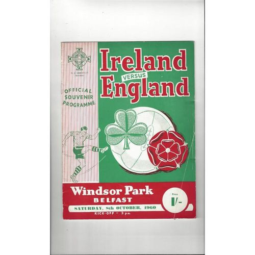 1960 Northern Ireland v England Football Programme