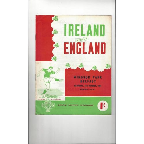 1964 Northern Ireland v England Football Programme
