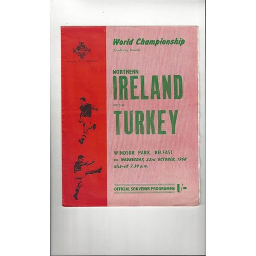 1968 Northern Ireland v Turkey Football Programme