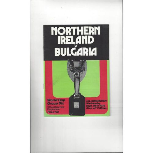 1973 Northern Ireland v Bulgaria Football Programme
