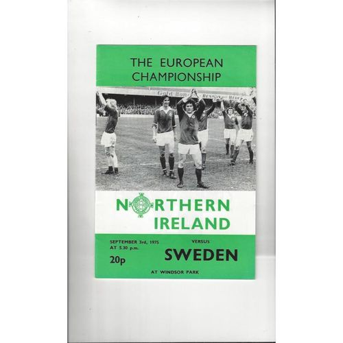 1975 Northern Ireland v Sweden Football Programme