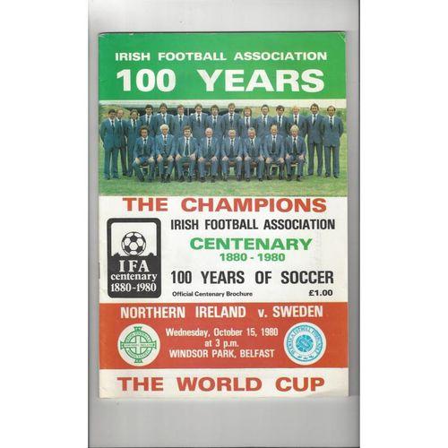 1980 Northern Ireland v Sweden Football Programme