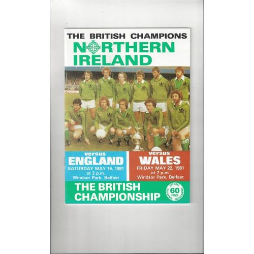 1981 Northern Ireland v England & Wales Football Programme