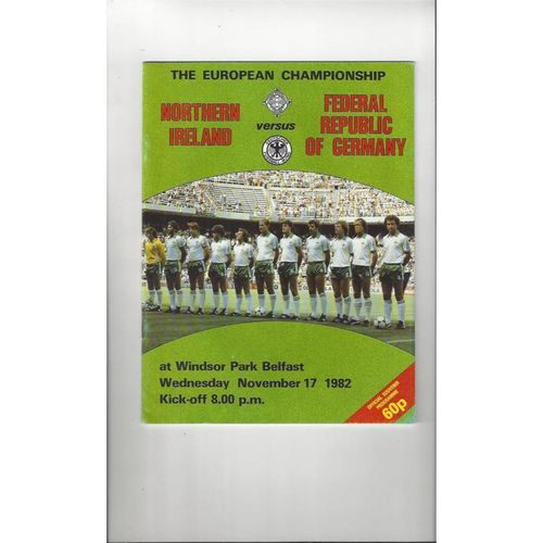 1982 Northern Ireland v Germany Football Programme