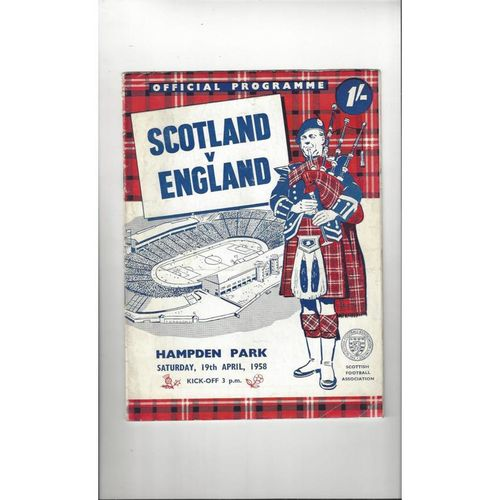 1958 Scotland v England Football Programme