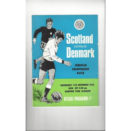 1970 Scotland v Denmark Football Programme