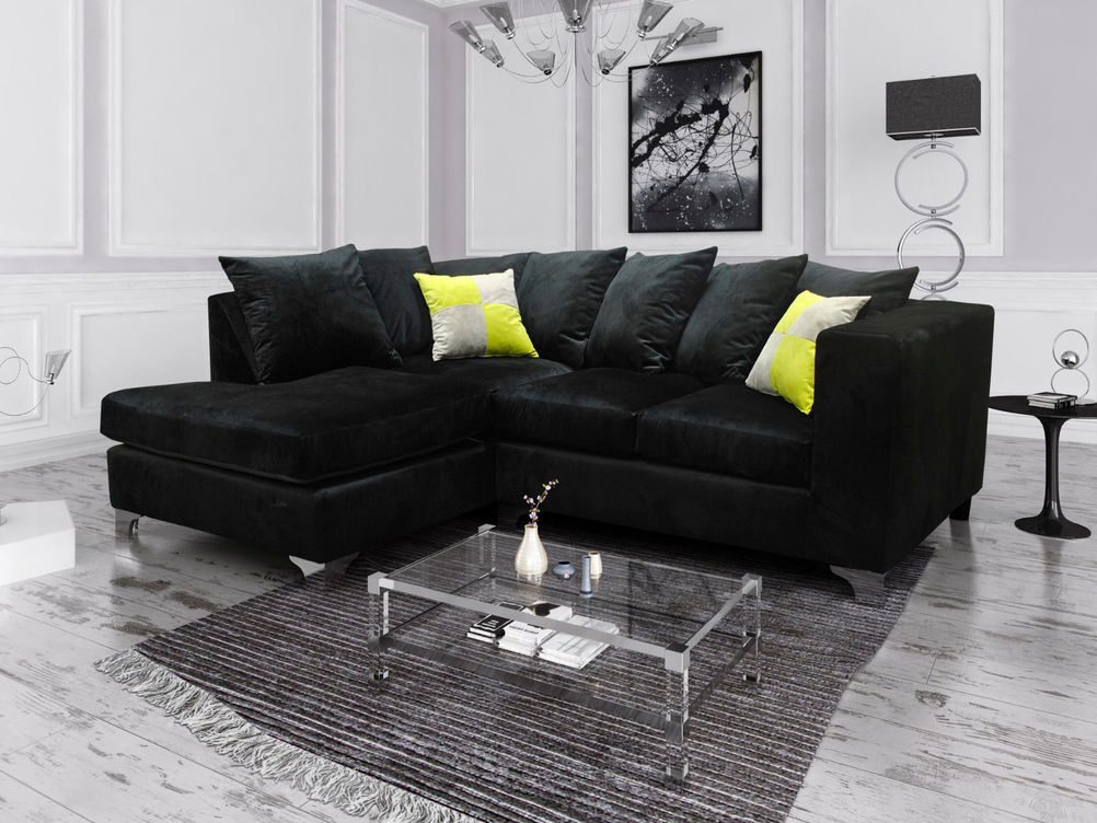1 CORNER 2 ELLA SOFA IN BLACK FRENCH VELVET