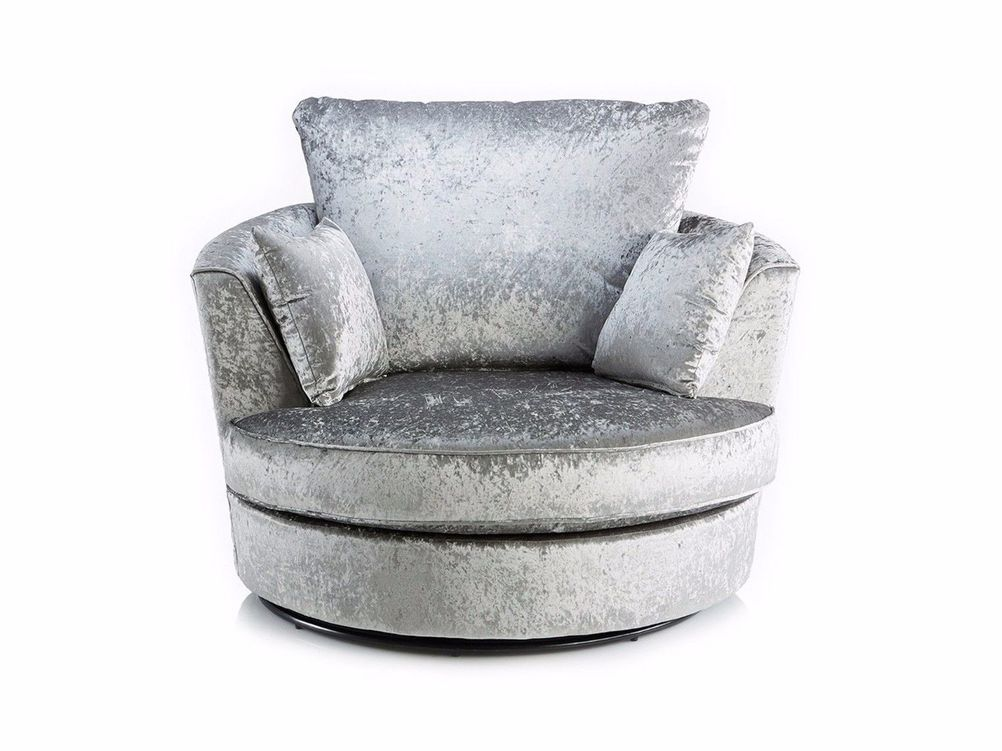 Velvet Silver Swivel Chair