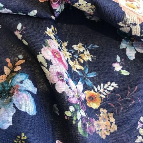 Lady McElroy Midnight Bouquet Cotton/Linen Mix 94cm Remnant