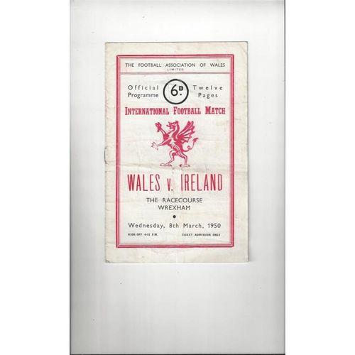 1950 Wales v Ireland Football Programme