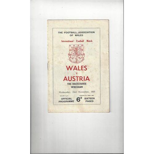1955 Wales v Austria Football Programme @ Wrexham