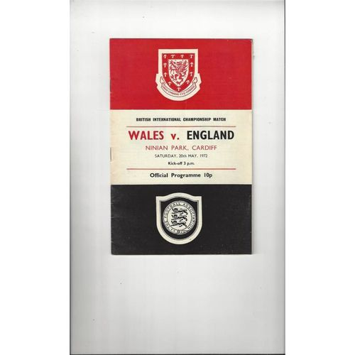 1972 Wales v England Football Programme @ Cardiff