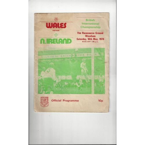 1974 Wales v Northern Ireland Football Programme @ Wrexham