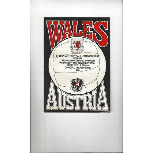1975 Wales v Austria Football Programme @ Wrexham
