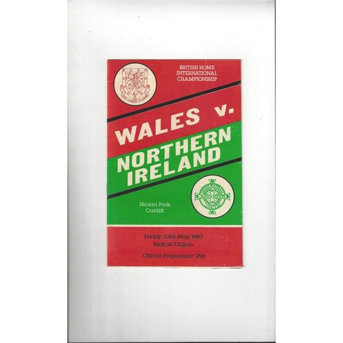 1980 Wales v Northern Ireland Football Programme @ Cardiff