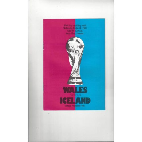 1981 Wales v Iceland Football Programme @ Swansea