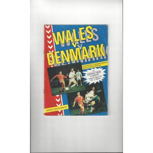 1987 Wales v Denmark Football Programme 1987 at Cardiff