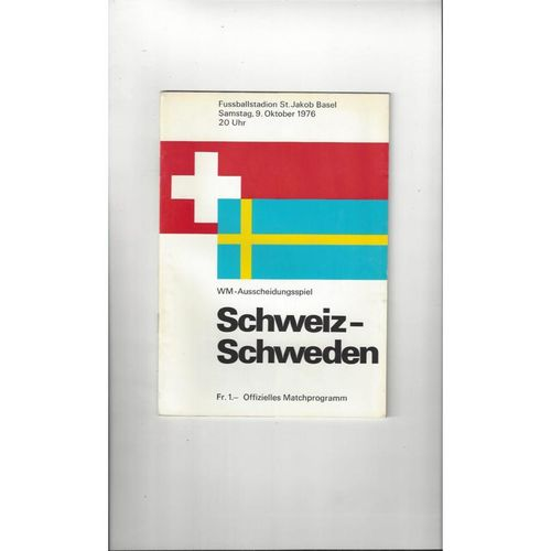 1976 Switzerland v Sweden Football Programme