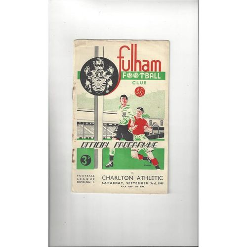 1949/50 Fulham v Charlton Athletic Football Programme