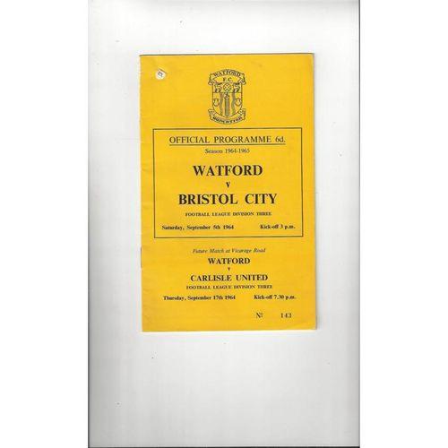 1964/65 Watford v Bristol City Football Programme