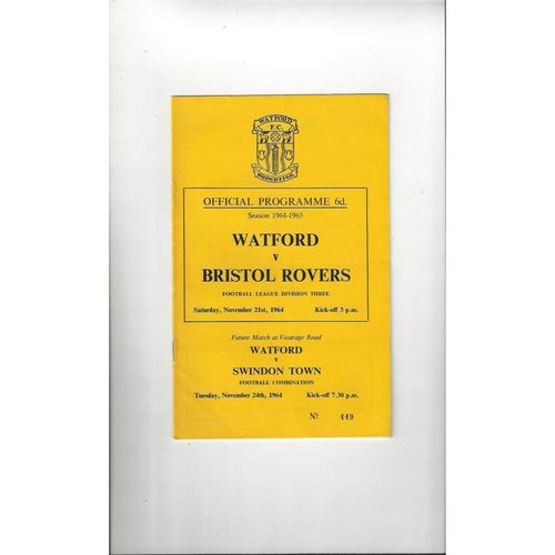 1964/65 Watford v Bristol Rovers Football Programme