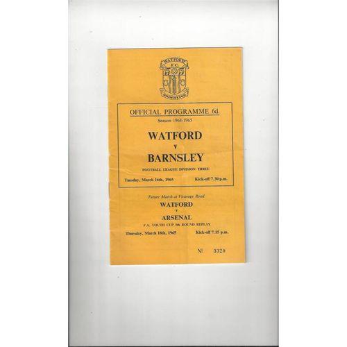 1964/65 Watford v Barnsley Football Programme