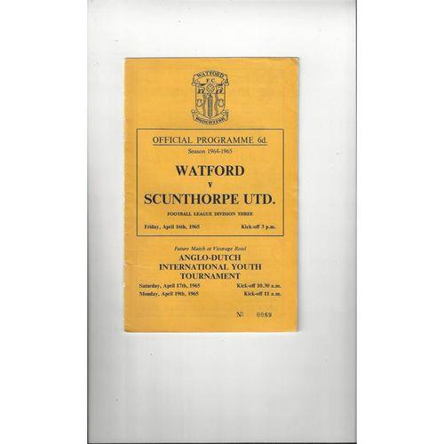 1964/65 Watford v Scunthorpe United Football Programme