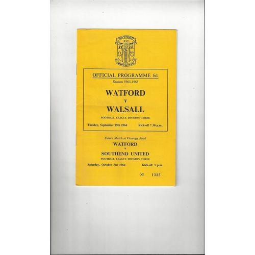 1964/65 Watford v Walsall Football Programme