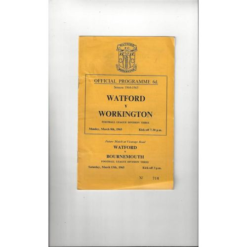1964/65 Watford v Workington Football Programme