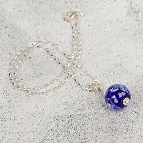 Blue Cremation Glass Pendant
