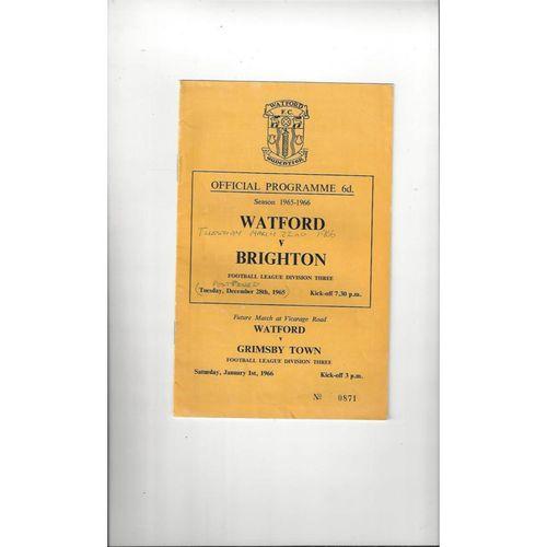1965/66 Watford v Brighton Football Programme