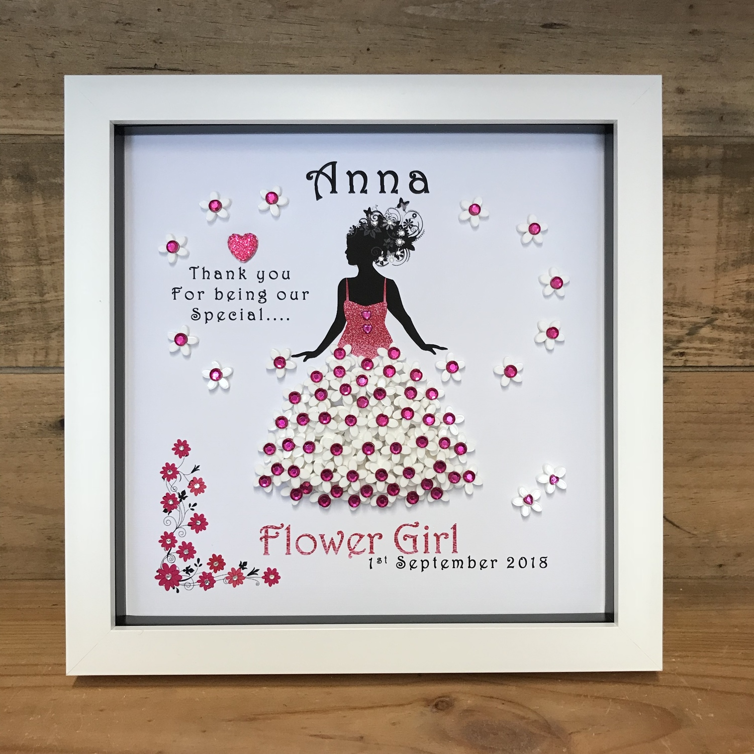 Unique Personalised Flower Girl Framed Print gifts Unusual present ideas