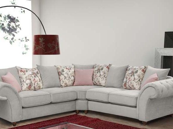 2 CORNER 2 ANNABELLE SOFA IN KEIRA SILVER WITH FLOWER SCATTERS