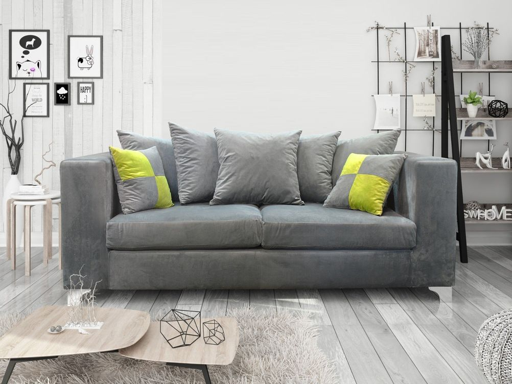 3+2 ELLA SOFA IN GREY FRENCH VELVET
