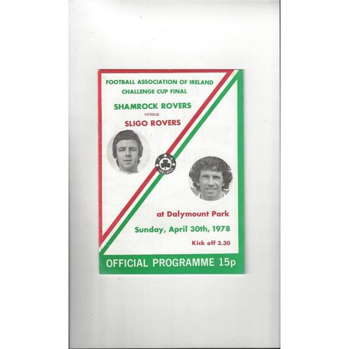 1978 Shamrock Rovers v Sligo Rovers F.A.I Cup Final Football Programme