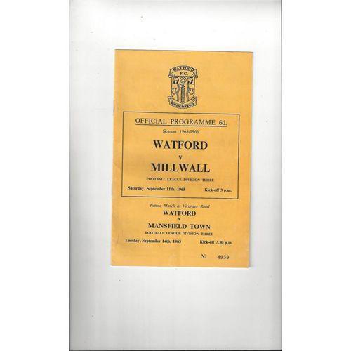 1965/66 Watford v Millwall Football Programme
