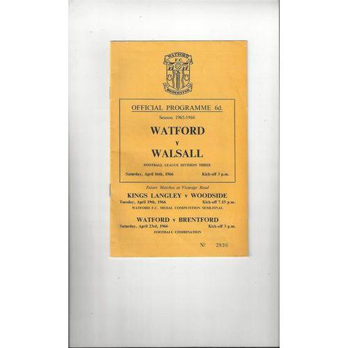 1965/66 Watford v Walsall Football Programme