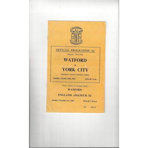 1965/66 Watford v York City Football Programme