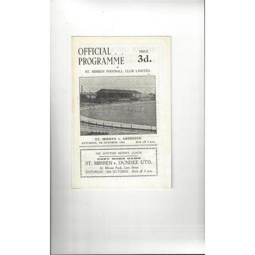 1961/62 St Mirren v Aberdeen Football Programme