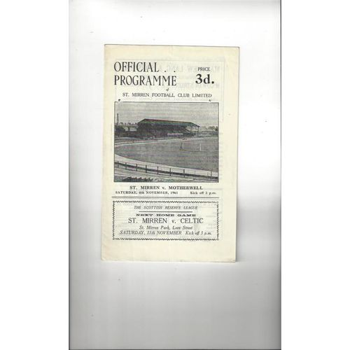 1961/62 St Mirren v Motherwell Football Programme