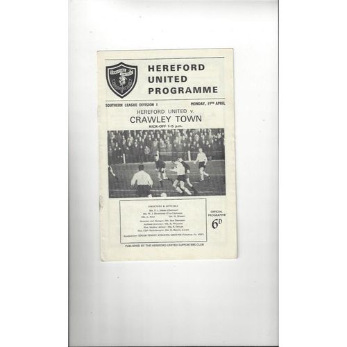 1964/65 Hereford United v Crawley Town Football Programme