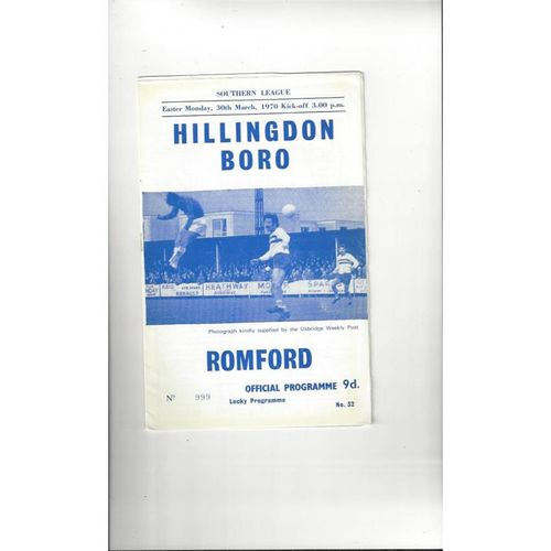 1969/70 Hillingdon Borough v Romford Football Programme